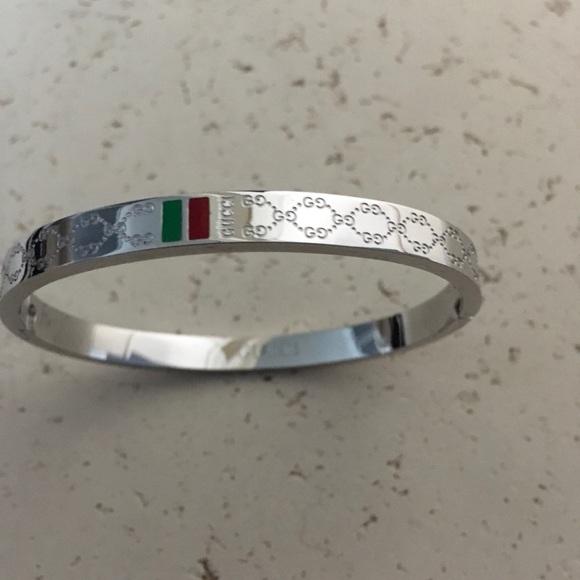 b12e09309 Gucci Jewelry | Silver Bangle Bracelet With Logo Authentic | Poshmark